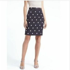 BANANA REPUBLIC/ Linen Blend Polka Dot Skirt